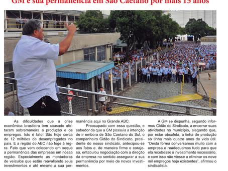 Acordo negociado pelo sindicato garante investimentos na GM e sua permanência em São Caetano por mai