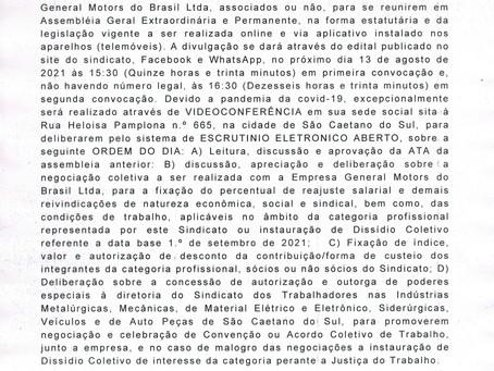 EDITAL DE CONVOCAÇÃO CAMPANHA SALARIAL GM 2021