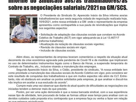 INFORME DO SINDICATO SOBRE A 2ª REUNIÃO REALIZADA NO DIA 10.09.2021 SINDICATO/GMINFORME DO SINDICATO