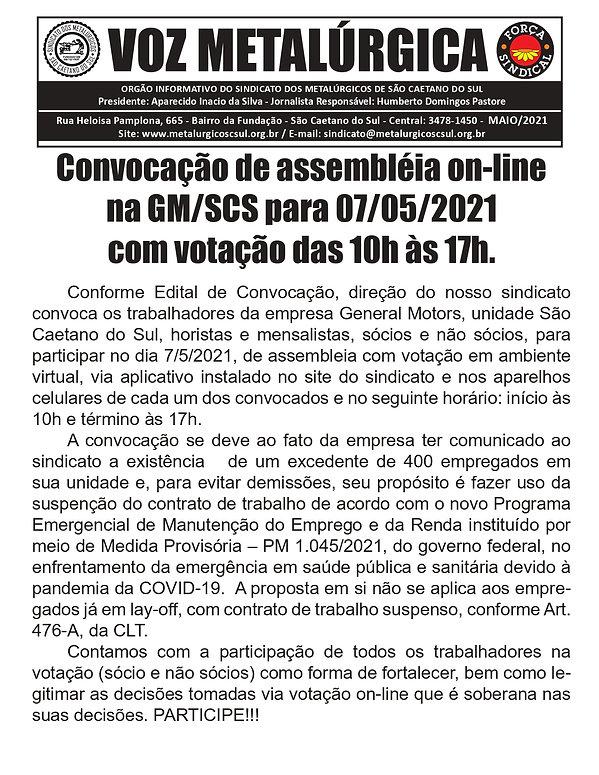 BOLETIM CONVOCAÇÃO 2021 General Motors -