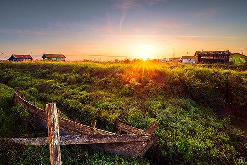 Lever de soleil sur Fort Royer, Oléron - Tableau