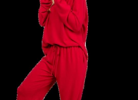 Red Hacci Brush Lounge Wear