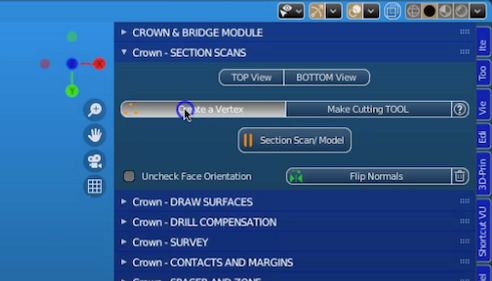 2. Sectioning Scans Sub-menu