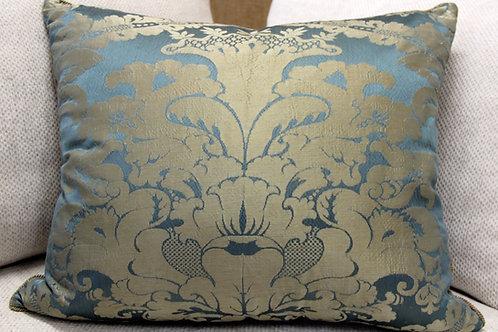 Blue & Silver Silk Pillow for Sofa Dećor