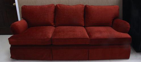 Red-Orange Chenille Sofa