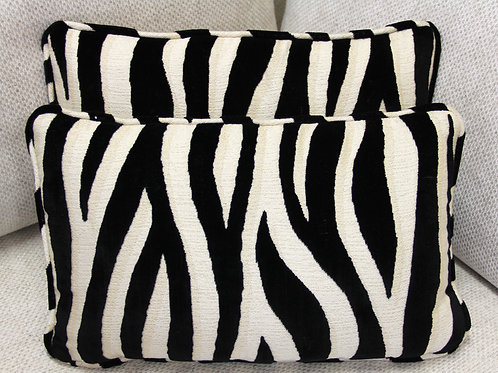 2 White Tiger Striped Kidney Pillows