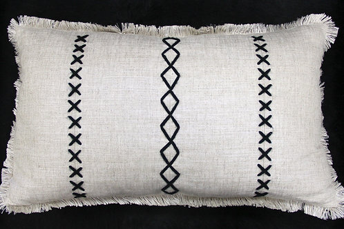Hand-Stitched Kidney Pillow, in Linen Fabric