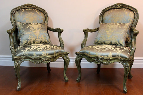 French Chairs in Silk Fabric