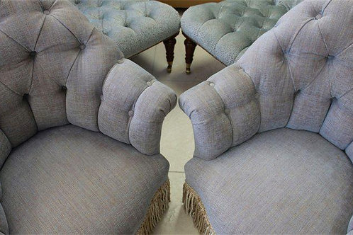 Pair of French Tufted Chairs