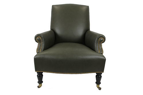 Italian Chair in Olive Colored Leather