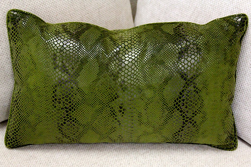 Olive Green synthetic Snakeskin Pillow