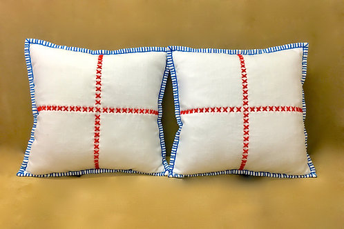 Blue Edged_INDEPENDENCE Pillow...Hand Sewn