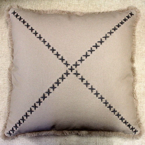 Hand-stitched Linen Pillow - Beige