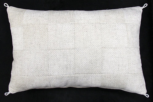 White Embossed Leather - Pillow