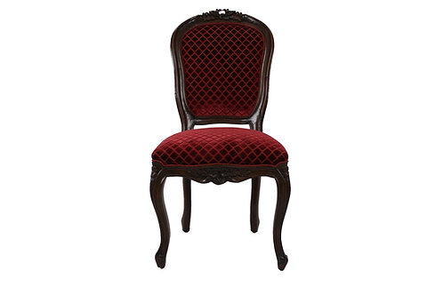 Italian Side Chair in Red Velvet Fabric