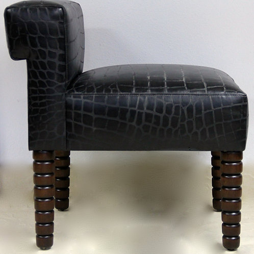 Musician's Chair in Black Embossed Leather