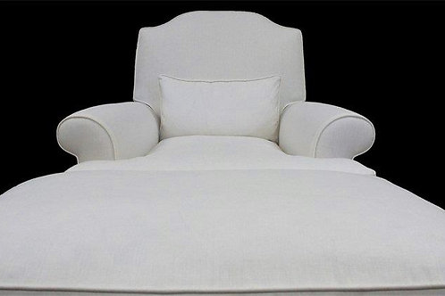 White Angel's Chair + Ottoman and Kidney Pillow