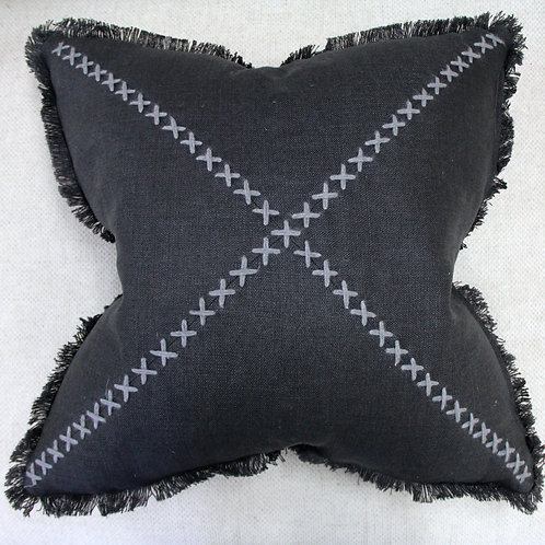Hand-stitched Linen Pillow - Gray