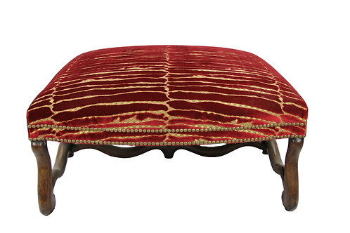 Italian Ottoman in Red & Gold Velvet