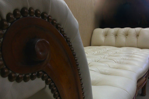 Tufted Creme Daybed, in Leather