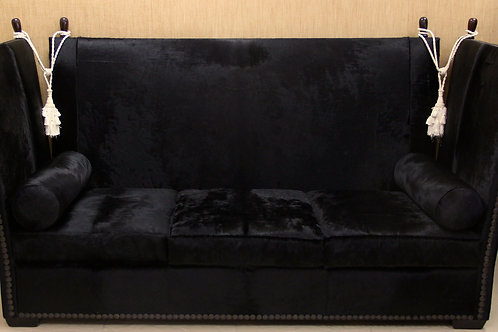 Knoll Sofa in Black Cowhide