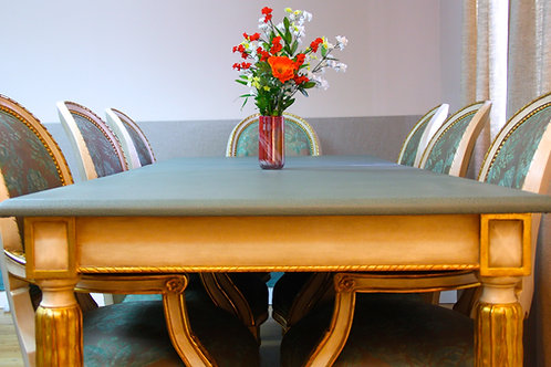 Eight Italian Dining Arm Chairs, in Gold + Table