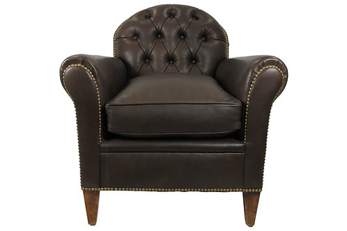Single French Tufted Leather Chair