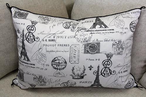 Paris, France White Kidney Pillow