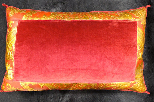 Kidney Pillow in Red Velvet & Gold Fabric