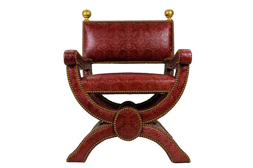 Italian Style-Entry Chair in Embossed Leather