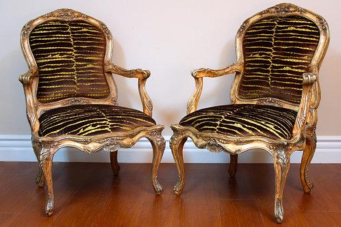 Italian Style Chair in Brown & Gold Velvet