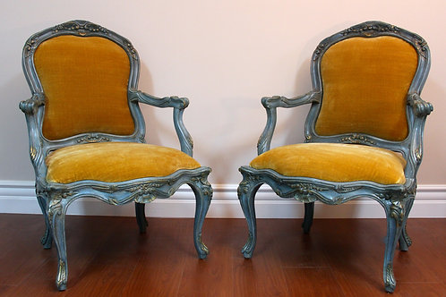 French Chairs in Silk-Velvet Fabric