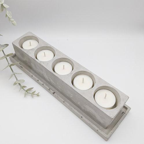 Concrete 5 Slot Oblong Tea Light Candle Holder