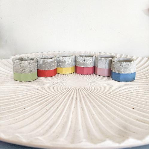 Rainbow painted Concrete Tea Light Container Candle Set