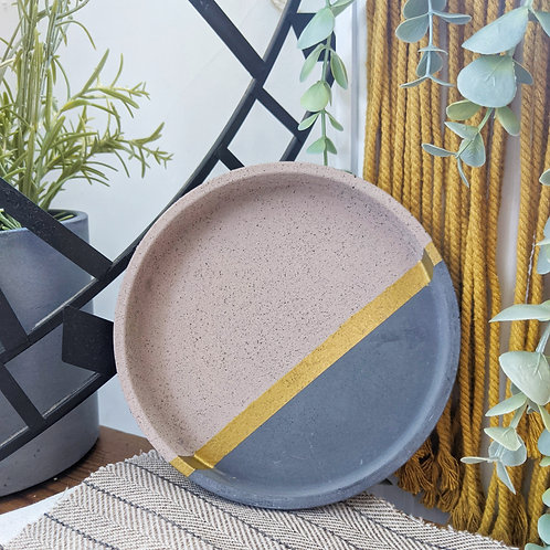 Hand painted circular concrete Tray