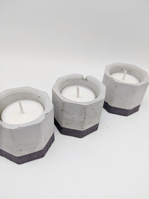 Set of 3 Concrete Tea Light Candle Holders