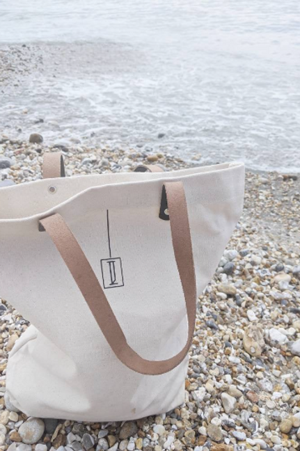 Genuine Leather and Canvas Tote Bag
