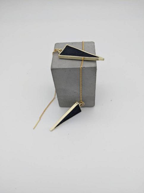Black Geometric Multi-Length Dangle Drop Earrings