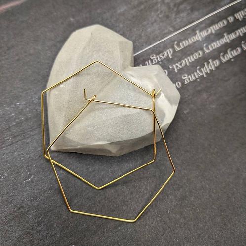 Gold plated Hexagonal Earrings
