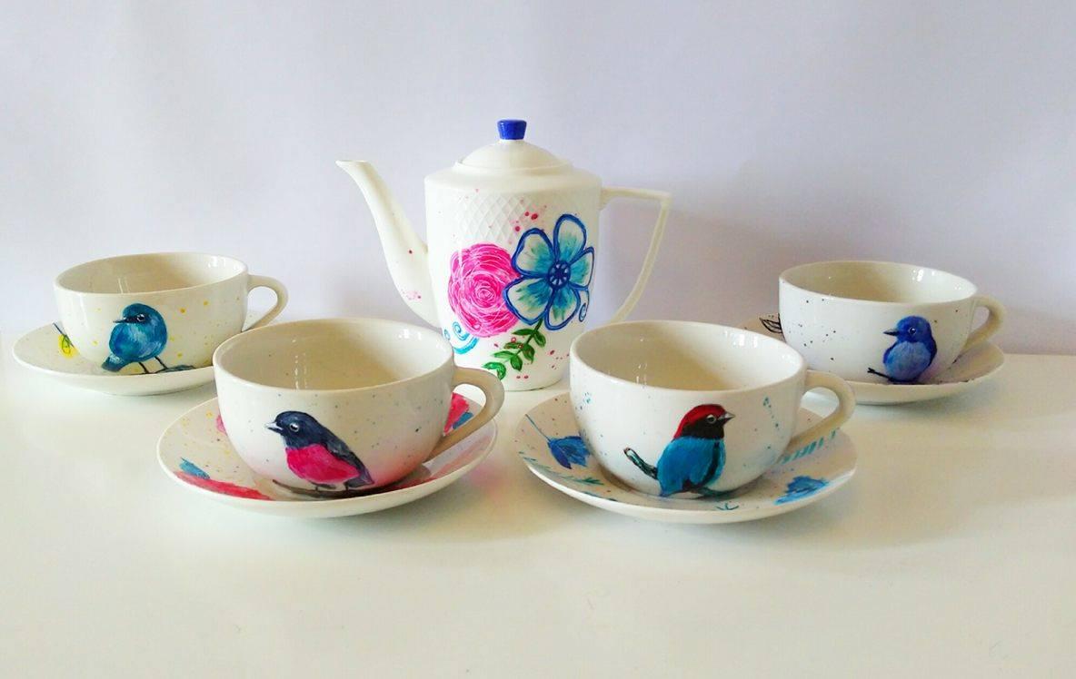 Juego de té pintado a mano