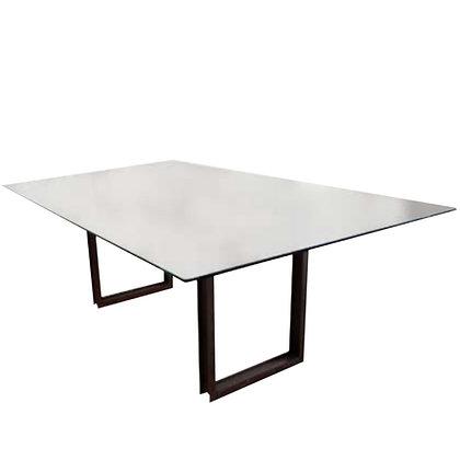 mesa comedor hierro y cristal 200x100x77h
