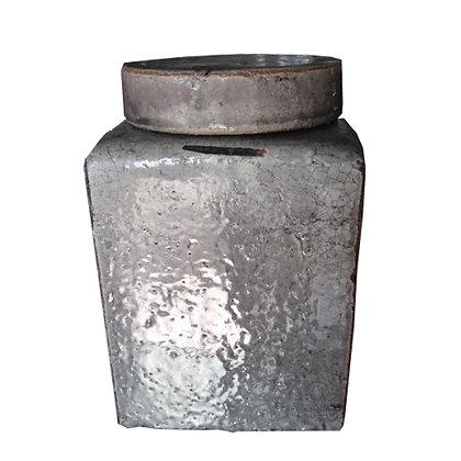 jarron ceramica gris claro 18x18x27h