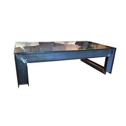 mesa centro hierro/cristal 140x80x45