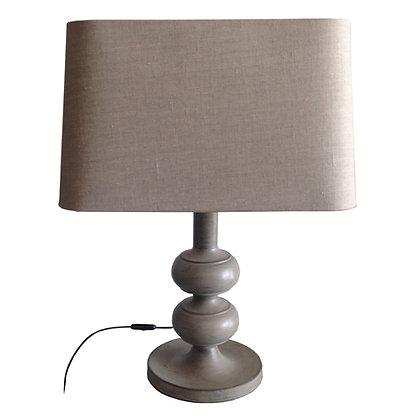 lámpara retro gris con pantalla lino 50x35x67h