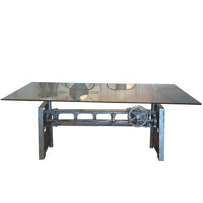 mesa comedor industrial con cristal 200x100x78h