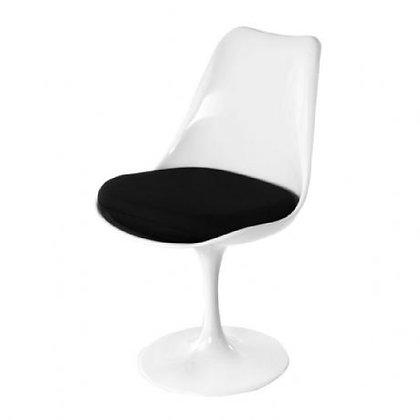 silla blanca giratoria cojin negro 53x48x80,5h