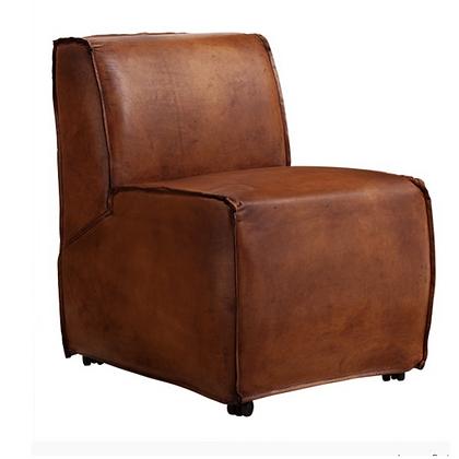 sillón cuero con ruedas 60x70x84h