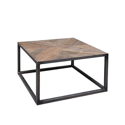 mesa madera antigua y metal 80x80x45h