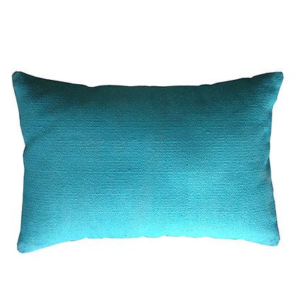 cojín lino rústico azul turquesa 60x40