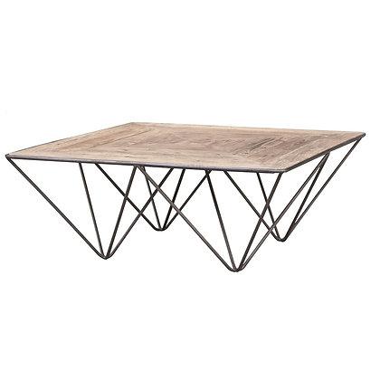 mesa centro madera y metal 100x100x40h